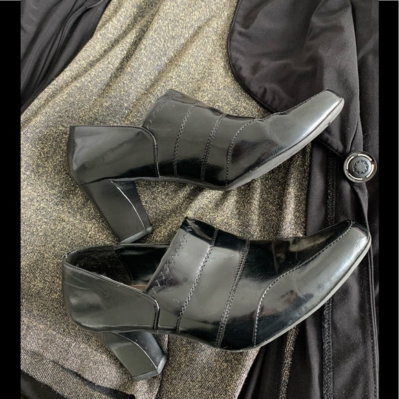 Madeline black patent faux leather pant booties